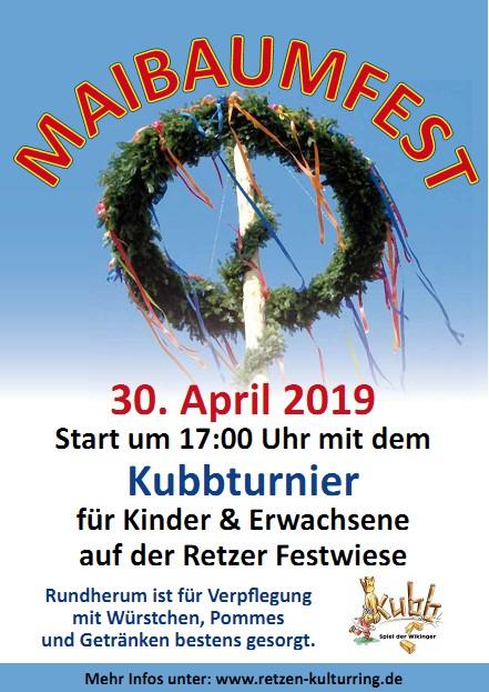 Plakat Maibaumfest Retzen 2019 - Stadt Bad Salzuflen - Kreis Lippe